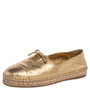 Prada Gold Leather Espadrille Flats Size 39.5