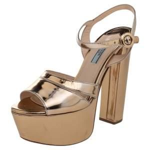 Prada Metallic Gold Leather Platform Ankle Strap Sandals Size 38