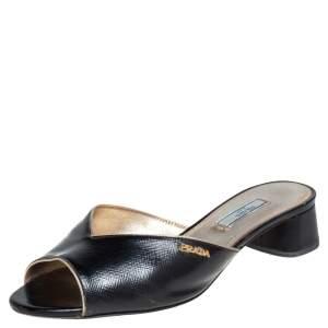Prada Black Saffiano Patent Leather Slide Sandals Size 38.5