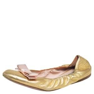 Prada Gold Leather Bow Scrunch Ballet Flats Size 40