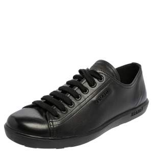Prada Sport Black Leather Low Top Sneakers Size 39