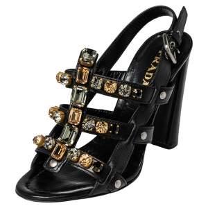 Prada Black Leather Crystal Embellished T Strap Sandals Size 37