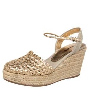 Prada Gold Woven Leather Wedge Platform Espadrille Sandals Size 38.5