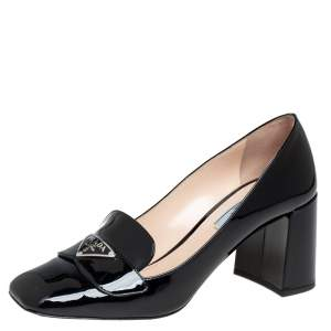 Prada Black Patent Leather Logo Embellished Block Heel Loafer Pumps Size 37