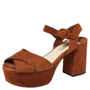 Prada Brown Suede Criss Cross Platform Ankle Strap Sandals Size 38.5