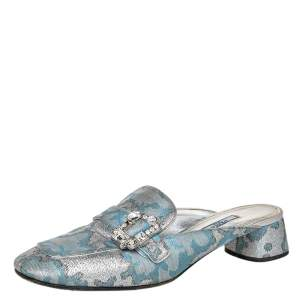Prada Blue/Silver Brocade Fabric And Leather Crystal Buckle Mules Sandals Size 39.5