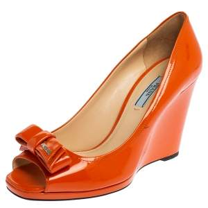 Prada Orange Patent Leather Bow Peep Toe Wedge Pumps Size 39.5