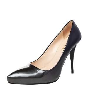 Prada Metallic Grey/Black Patent Leather Pointed Toe Pumps Size 37.5