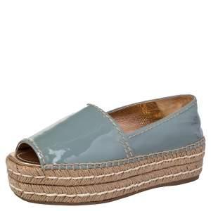 Prada Pastel Blue Patent Leather Platform Espadrille Flats Size 37