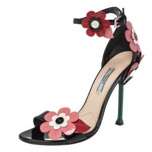 Prada Multicolor Floral Appliqué Patent Leather Ankle Strap Sandals Size 38