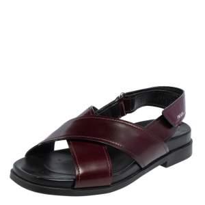 Prada Burgundy/Black Leather Crisscross Strap Sandals Size 37