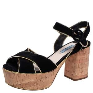 Prada Black Suede Ankle Strap Platform Sandals Size 38