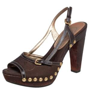 Prada Brown Fabric and Leather Trim Studded Wooden Platform Sandals Size 38