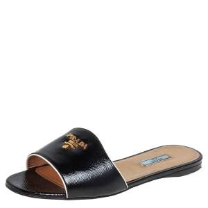 Prada Black Saffiano Patent Leather Slide Flats Size 40.5