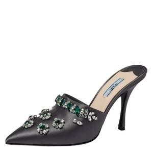 Prada Grey Satin Crystal Embellished Mule Sandals Size 38.5