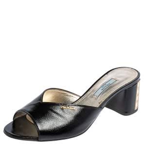Prada Black Saffiano Patent Leather Crystal Embellished Heel Slide Sandals Size 37
