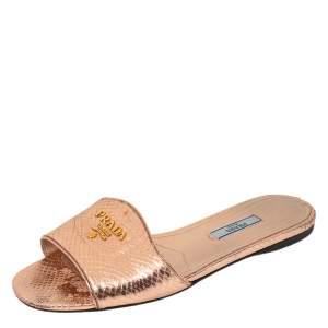 Prada Metallic Rose Gold Snakeskin Logo Slide Flats Size 37.5