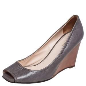 Prada Grey Leather Peep Toe Wedge Pumps Size 39