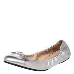 Prada Silver Leather Bow Scrunch Ballet Flats Size 40