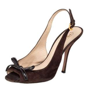 Prada Brown Suede Bow Peep Toe Slingback Sandals Size 40
