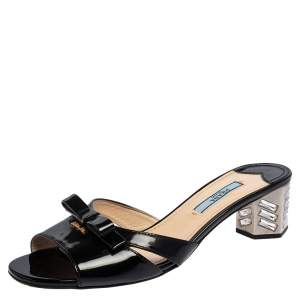 Prada Black Patent Leather Bow Slide Sandals Size 37.5