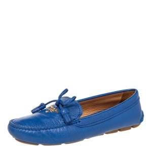 حذاء لوفرز برادا سليب أون جلد أزرق بشراشيب وفيونكة مقاس 37