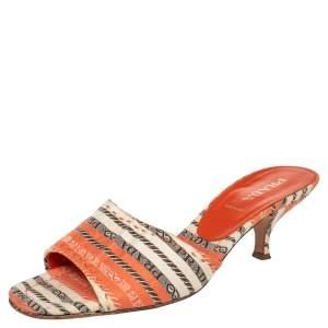 Prada Multicolor Fabric Open Toe Slide Sandals Size 38.5