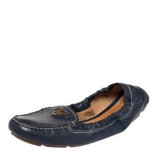 Prada Blue Leather Scrunch Slip On Loafers Size 39.5