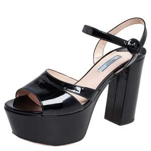 Prada Black Patent Leather Ankle Strap Block Heel Platform Sandals Size 38.5