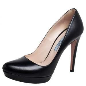 Prada Black Leather Platform Pumps Size 36.5
