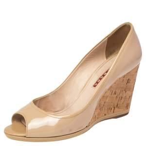 Prada Beige Patent Leather Peep Toe Cork Wedges Pumps Size 38