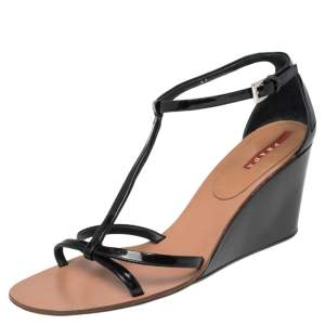 Prada Black Patent Leather Strappy Sandals Size 41
