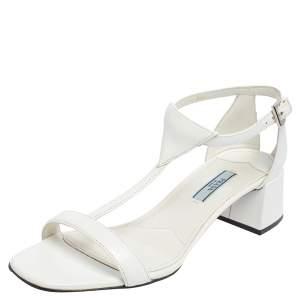 Prada White Leather T Strap Block Heel Sandals Size 38.5