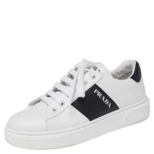 حذاء رياضي برادا جلد أبيض/أسود عنق منخفض مقاس 38