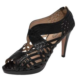 Prada Black Leather Peep Toe Ankle Strappy Zipper Booties Size 39.5