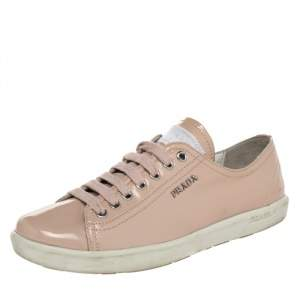 Prada Pink Patent Leather Low Top Sneakers Size 38.5