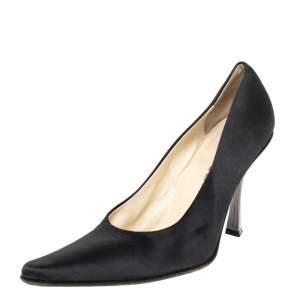 Prada Black Satin Pointed Toe Pumps Size 38.5