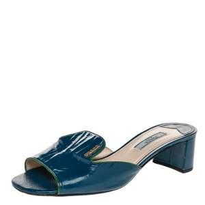Prada Blue Patent Saffiano Leather Block Heel Slide Sandals Size 37