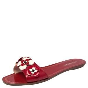 Prada Red Saffiano Leather Floral Embellished Flat Slides Size 37.5