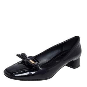 Prada Black Patent Leather Bow Block Heel Pumps Size 36.5