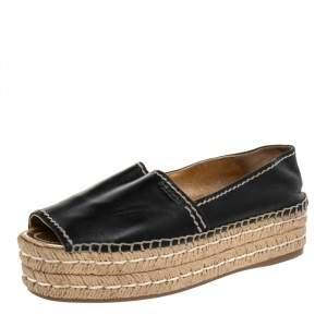 Prada Black Leather Peep Toe Platform Espadrille Flats Size 39