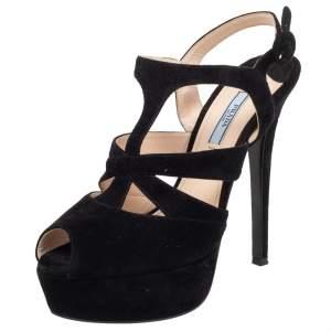 Prada Black Suede Peep Toe Slingback Platform Sandals Size 39