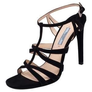 Prada Black Suede Cross T Strappy Sandals Size 39