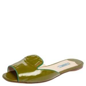 Prada Green Patent Leather Flat Slides Size 39.5
