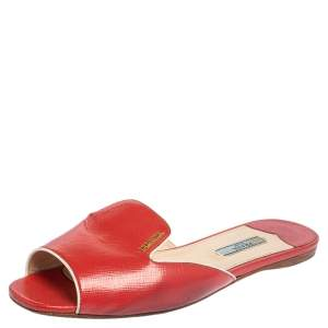 Prada Red Patent Leather Flat Slides Size 39
