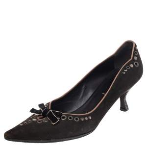 Prada Brown Nubuck Leather Studded Pointed Toe Pumps Size 37.5