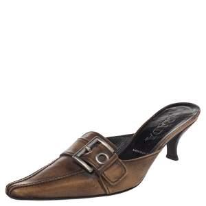 Prada Brown Leather Buckle Mule Sandals Size 36.5