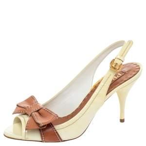 Prada Cream/Brown Leather Bow Peep Toe Slingback Sandals Size 37.5