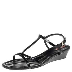 Prada Black Patent Leather Open Toe T Strap Sandals Size 40