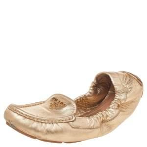 Prada Gold Leather Scrunch Ballet Flats Size 36